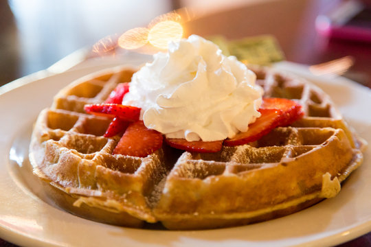 Whipped Cream on Strawberries on Waffle