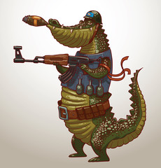 Vector crocodile with gun. Cartoon image of a green crocodile in a blue vest, belt and a helmet with a gun in his paws and a cigar in his mouth on a light blue background.