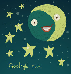 Vector goodnight moon. Cartoon image of the moon with the eyes and mouth in the night dark blue background with stars, with the wish of a good night. The text is written in the curves.