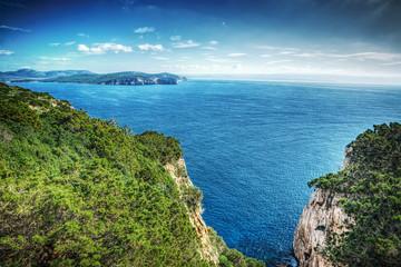 Capo Caccia rocky shore in hdr