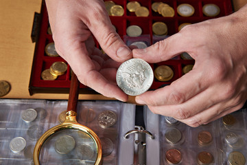 American dollar in hands of numismatist