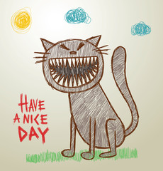 Vector funny image of children's drawings cat with sharp teeth on a light background, as if painted with colored pencils. The text is written in the curves.
