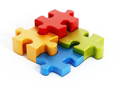 Multi colored puzzle pieces