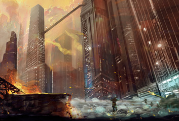 Illustration: The Battle in the City. Realistic Style. Scene / Wallpaper Design.