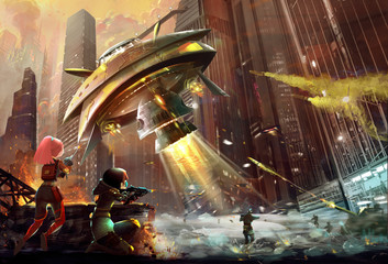 Illustration: The Terrible Alien UFO Destroyer comes. The Combat Begins. The Brave Sisters and Brothers joined in. Realistic Style. Scene / Wallpaper Design.