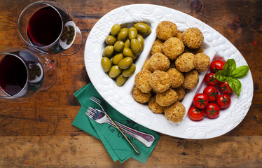 Healthy Italian Appetizer Tray with Risotto balls Arancini , Gre