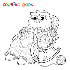 Coloring book. Old owl in chair knitting a sock.