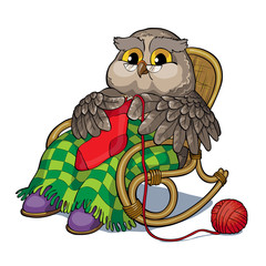 Old owl in chair knitting a sock.
