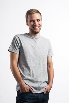 Portrait of a laughing man in a T-shirt