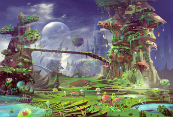 Illustration: The Panorama of the Prison Planet - The Gentle Version. Realistic Style. Scene / Wallpaper Design.