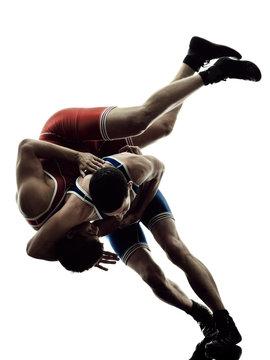 wrestlers wrestling men isolated silhouette