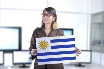 Business Woman Holding the Uruguayan Flag