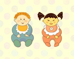 Cute cartoon babies - boy and girl. Vector illustration.