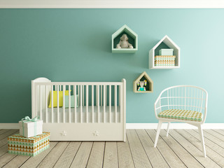 nursery, baby room, 3d render