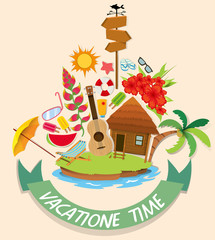 Vacation theme with cabin and beach objects