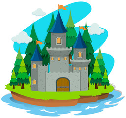 Castle building on the island