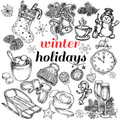 hand drawn set winter holidays collection