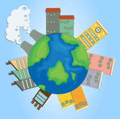 Earth with buildings and factories