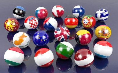 Flag balls of Euro member countries, stock image
