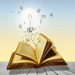 Open book with lightbulb and letters. Concept of the importance of reading.