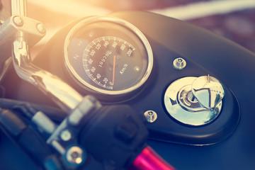 Speed gauge and Fuel gauge on old vintage motorcycle