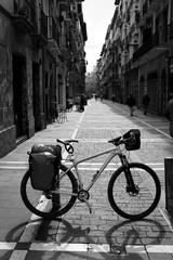 Way of Saint James in Pamplona Calle Mayor bike