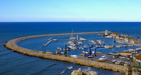 View of the tourist harbor of Rodi Garganico. Apulia Italy