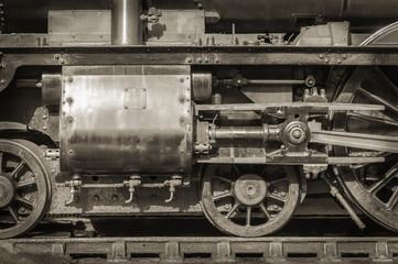 Wall Mural - sepia toned vintage steam locomotive wheels