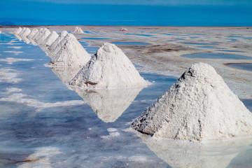 Hills of salt - salt extraction area at the world's biggest salt plain Salar de Uyuni, Bolivia Wall mural