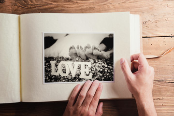 Wedding photo on a table