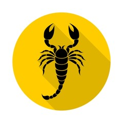 Scorpion icon with long shadow