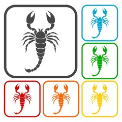 Scorpion icons set