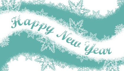 New year card with snow.