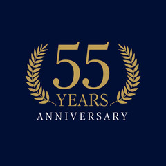 55 anniversary royal logo.  Template logo 55th anniversary with a frame in the form of laurel branches and the number 55
