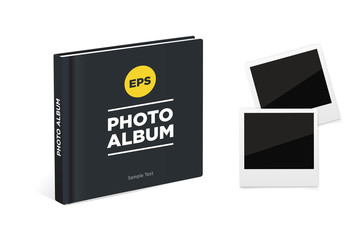 Photo album book with black cover and Vintage photo frames. Vector mockup