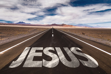 Jesus written on desert road