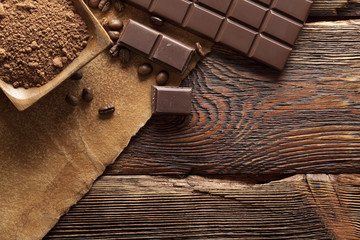 Dark chocolate, cocoa and coffee grains