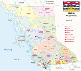 british columbia administrative map with flag