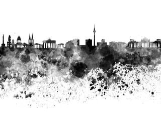 Fotomurales - Berlin skyline in black watercolor