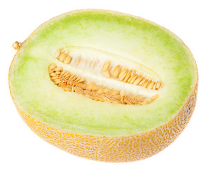 half melon front on a white background