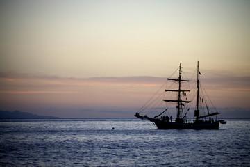Sailing yaht in open sea