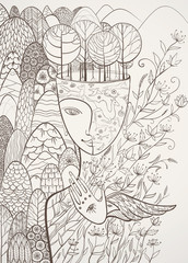 Vector contour illustration of the goddess of Mother Nature