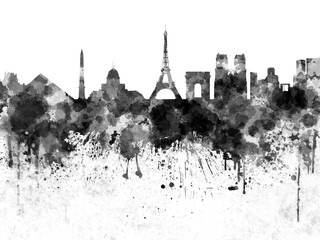 Wall Mural - Paris skyline in black watercolor