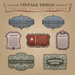 Calligraphic old vintage elements labels. Congratulation page de