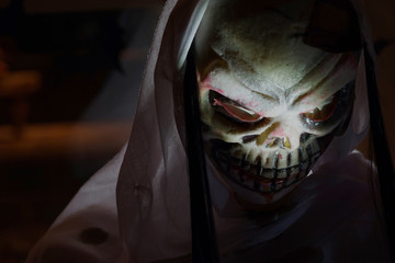 halloween skull face closeup