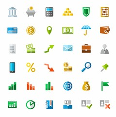 Banking, Finance, colorful icons.
