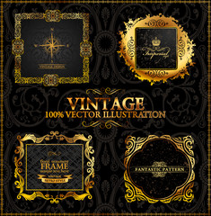 Vector vintage. Gold frames calligraphic
