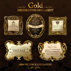 vintage decor frames. Gold ornament label