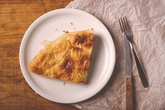 Burek on a plate, traditional Balkan dish