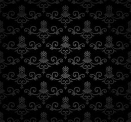 Black Seamless vintage floral Pattern